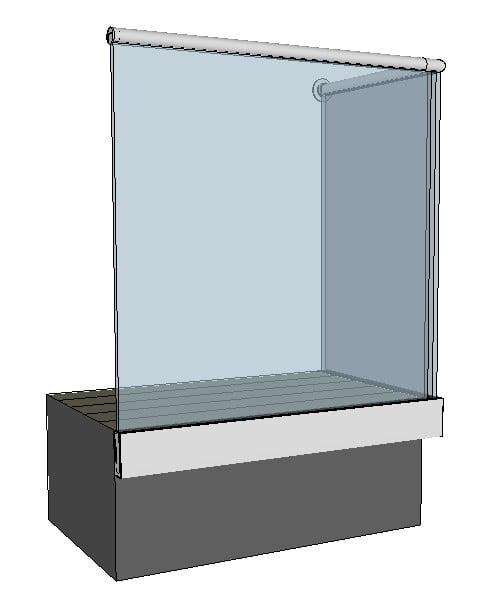 Moderne designet rekkverk i glass med skinne og uten stolper som gir ...